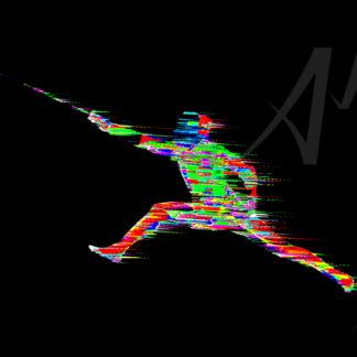 dynamic colourful digital art fencer