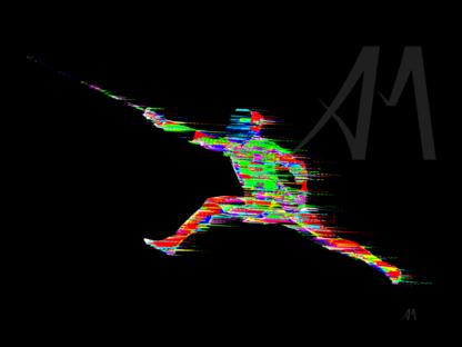 dynamic colourful digital art fencer