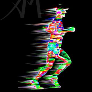 dazzling digital art marathon runner