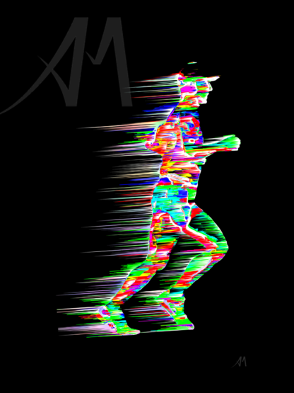 dazzling digital art marathon runner