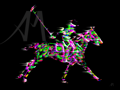 digital art polo player and horse