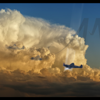 Three Spitfires in cloud cover with searchlight digial art