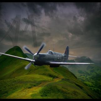 Spitfire flying over Lakes District digital art