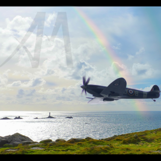 Spitfire in Cornwall near Land's End digital art