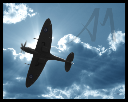 Spitfire undercarriage silhouette and sunburst digiatl art
