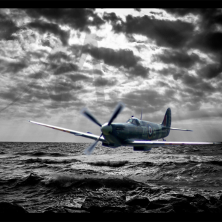 Spitfire flying under radar over ocean digital art