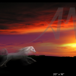 White Horse myth - sun catcher, digital art