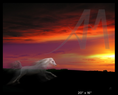 White Horse myth - sun catcher, digital art