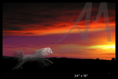 Story of white horse chasing sun as digital art