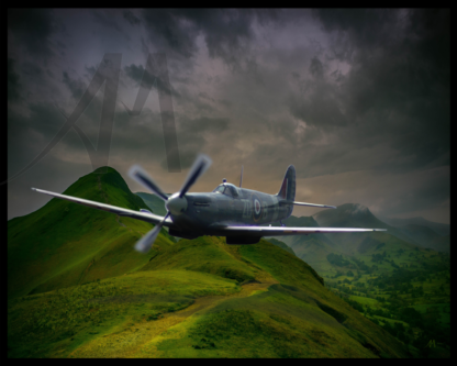 Spitfire flying over Lakes District digital art