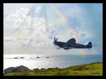 Spitfire in Cornwall near Land's End digital art