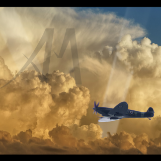 Spitfire with clouds and searchlight digital art