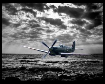 Spitfire flying under radar over ocean digital art