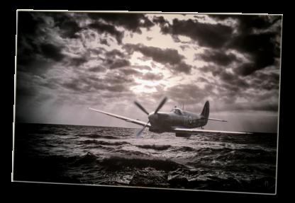 Digital art Spitfire under the radar aluminium print