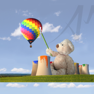 Bear with Didcot cooling towers as paint pots