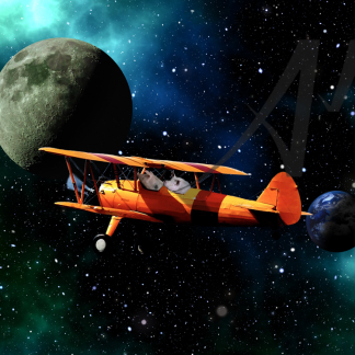 Pigs flying in biplane to the moon